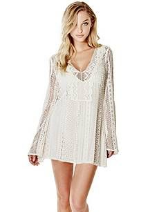 Adalina Long-Sleeve Crochet Dress | GUESS.com