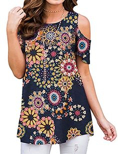 Amazing offer on ZJP Women Casual Short Sleeve Cold Shoulder Floral Print Shirt Tops Blouse Tunic online - Newfashionclo Cold Shoulder Shirt, Shoulder Shirts, Shoulder Tops, Ladies Trouser Suits, Trousers Women, Plus Size Bohemian Clothing, Tunic Shirt, Tunic Tops, Cardigan Long