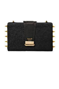 Salar Lou Spikes Studs Ponyskin Box Clutch, $636; luisaviaroma.com  COURTESY OF MY WARDROBE 20 of 30