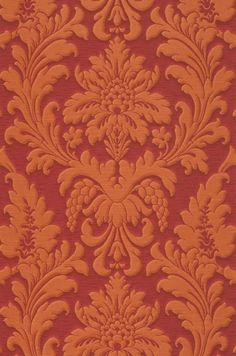 £26.30 Price per roll (per m2 £4.93), Baroque wallpaper, Carrier material: Non-woven wallpaper, Surface: Fine structure, Vinyl, Look: Matt, Looks like textile, Design: Baroque damask, Basic colour: Ruby red, Pattern colour: Orange brown  , Characteristics: Good lightfastness, Highly wash-resistant, Low flammability, Strippable, Paste the wall