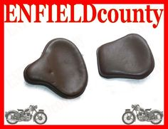 NEW Brown tan LEATHER CLASSIC BOBBER STYLE SADDLE SEATS BRITISH ROYAL ENFIELD