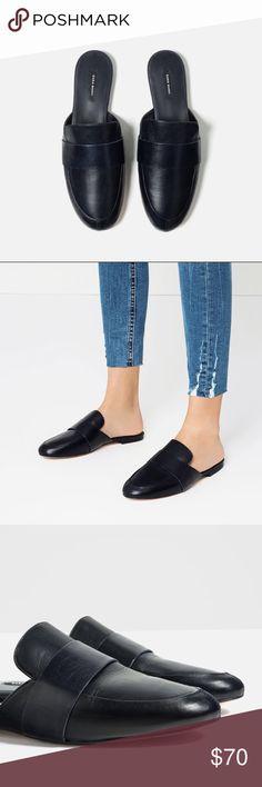 Zara navy blue leather slides Slip on style so convenient yet stylish.... 100% cow leather upper..... slipsole 80% goat leather, 20% polyurethane.... euro size 39 Zara Shoes Mules & Clogs
