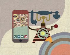 Retro Style Pop Art Work Antique Telephone Poster by iQstudio