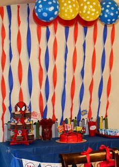 Spiderman is awesome, but repinning for the streamers on the wall. Much better than just wrapped them around columns/etc.