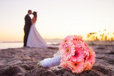 Detail Shot of the Flowers in the foreground with the bride and groom sharing a moment in the background