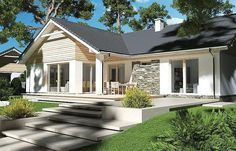 Zdjęcie projektu Evita Optima wersja A Metal Roofs Farmhouse, Bungalow Homes, Small House Plans, Home Fashion, Planer, Exterior, Cabin, House Styles, Outdoor Decor