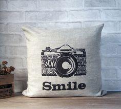 SALE - Linen decorative pillow with retro camera print - black camera print throw pillow - linen pillow with retro design