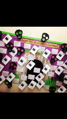 Literacy and art, Diary entries and gas masks. Class Displays, Classroom Displays, Classroom Ideas, World War 2 Display, Teaching Resources, Teaching Ideas, Behavior Management System, Gas Masks, Make Do And Mend