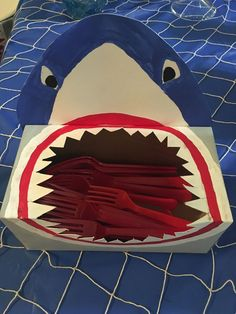 shark party ideas Best Picture For Nerf Gun Birthday Party decorations For Your Taste You are lookin Shark Birthday Cakes, Dinosaur Birthday Party, Pirate Birthday, 3rd Birthday Parties, Boy Birthday, Shark Birthday Ideas, Shark Party Decorations, Baby Shark, Shark Shark