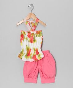 This Lele for Kids Coral Floral Halter Top & Capri Pants - Toddler & Girls by Lele for Kids is perfect! #zulilyfinds