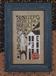 Simply Scary is the title of this cross stitch pattern from The Drawn Thread that can be stitched with Dinky Dyes and NPI Silks or with Gentle Art Sampler threads (Pumpkin Pie, Carriage Black, Avocado, Walnut) and DMC threads. The price includes the cross stitch pattern and the small black buttons.