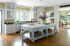 industrial island with butcher block and castors - Google Search