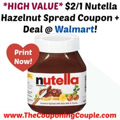 WOOHOOO!! *HIGH VALUE* $2/1 Nutella Hazelnut Spread Coupon + Deal @ Walmart!  Click the link below to get all of the details ► http://www.thecouponingcouple.com/high-value-21-nutella-hazelnut-spread-coupon-deal-walmart/ #Coupons #Couponing #CouponCommunity  Visit us at http://www.thecouponingcouple.com for more great posts!