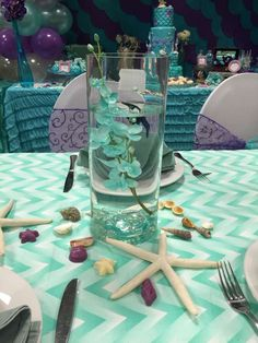 Mermaid centerpiece water vase and sea shells