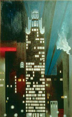 Georgia O'Keefe : Radiator Building - Night, New York, 1927. The Alfred Stieglitz Collection, Fisk University, Nashville, Tennessee.