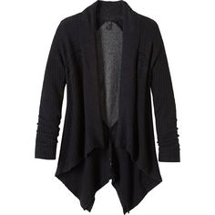 PrAna Diamond Sweater Cardi - M - Black - Sweaters ($44) ❤ liked on Polyvore featuring tops, cardigans, black, stretch top, asymmetric top, stretchy tops, prana tops and woven top