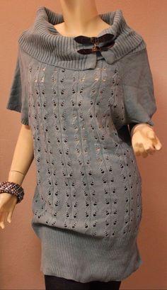 Torrid Mint Green Knit Sweater Top Buckles 2 2X 18-20 Short Sleeves Loose Knit #Torrid #CowlNeck