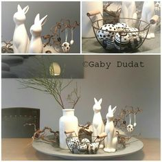 Osterdeko Tisch - Gaby Dudat - # feiertageundanläss - Easter decoration table - Gaby Dudat - # holidays and occasion - # feiertageundanläss Deko Ideen Easter Table Decorations, Decoration Table, Easter Crafts, Crafts For Kids, Summer Crafts, Fall Crafts, Christmas Crafts, Holiday Day, Egg Decorating