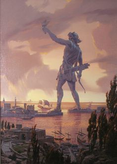 The Colossus of Rhodes was a statue of the Greek god Helios, erected on the Greek island of Rhodes by Chares of Lindos between 292 and 280 BC. It was one of the Seven Wonders of the Ancient World. Before its destruction in 226 BC, the Colossus of Rhodes stood over 30 metres high. .