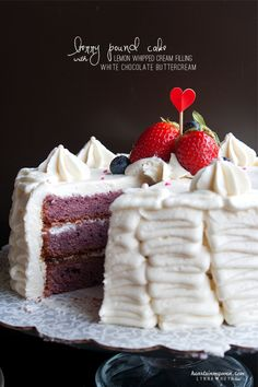 Hearts in My Oven: Berry Pound Cake w/ White Chocolate Buttercream + 2nd Blogiversary!
