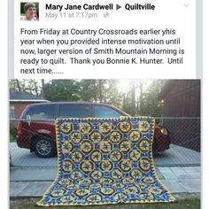 A beautiful Smith Mountain Morning from Scraps & Shirttails II by Mary Jane Cardwell!  Didn't she do a fabulous job?  Love the yellow!  Signed copies of books are available in my website store http://quiltville.com  #quilt #quilting #patchwork #quiltville #bonniekhunter #smithmountainmorning