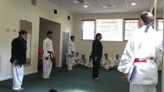 Black Belts line up for kata at our anniversary class- Sept 2015