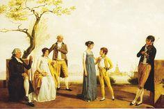 Jacques Sablet le Jeune, Family Portrait in Front of a Harbour (detail), 1800. Full portrait