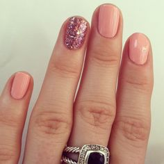 Fascinating Pink Nail Design Ideas With Sparkling Purple Glittering Nails
