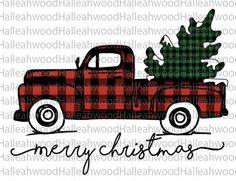 Christmas Truck- Plaid- Digital Design