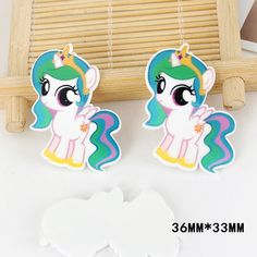 50pcs 36*33MM Cartoon Character My Little Pony Resin Flatback Kawaii Planar Resin Craft for DIY Home & Holiday Decoration DL-563
