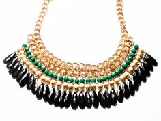 Gold Filled Rhinestone Bib Necklace Gold Filled by MoodTherapy