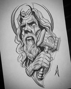 Nenhuma descrição de foto disponível. Zeus Tattoo, Norse Tattoo, Viking Tattoos, Arm Tattoo, Sleeve Tattoos, Viking Tattoo Design, Sketch Style Tattoos, Tattoo Design Drawings, Tattoo Sketches
