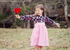 Girl's Twirly T-Shirt Dress Pattern and Tutorial, free sewing pattern sz 4 - 8