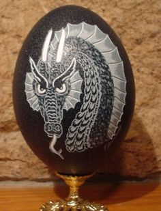 carved emu eggshell