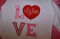 Personalized Valentine's LOVE LongSleeve Shirt  by StitchnNana, $25.00