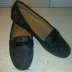 Black Coach loafers! Easy to wear,  comfortable,  and stylish!  Black Coach logo loafers go with so much!  Barely worn Coach Shoes Flats & Loafers