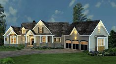 Craftsman Style COOL House Plan ID: chp-53189 | Total Living Area: 2498 sq. ft., 3 bedrooms and 3.5 bathrooms. #houseplan #craftsmanhome