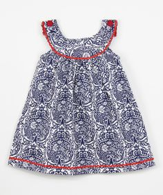 Look at this Blue Damask Yoke Dress - Infant, Toddler & Girls on #zulily today!