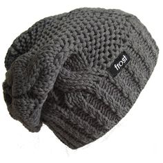 Frost Hats Winter Hat for Women CHARCOAL Slouchy Beanie Hat Knitted Winter Hat Frost Hats (Charcoal)