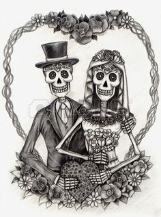 Art Skull Day of the dead.Hand Drawing on paper.