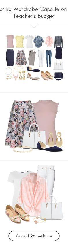 """Spring Wardrobe Capsule on a Teacher's Budget"" by vanessa-bohlmann ❤ liked on Polyvore featuring Hollister Co., Dorothy Perkins, Ted Baker, AG Adriano Goldschmied, Petit Bateau, Apt. 9, Nine West, New Look, Humble Chic and Saks Fifth Avenue"