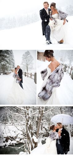 Lovely snow winter wedding