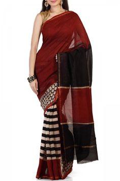 Brown & Black Polka Dotted Hand Block Chanderi Silk Cotton Saree