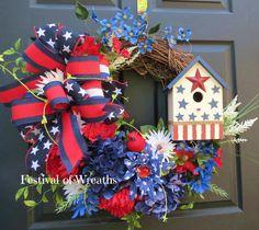 Patriotic Door Wreath  Summer Wreath  by FestivalofWreaths on Etsy