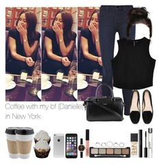 """Coffee with my bf (Danielle) in New York"" by jaynnelinsstyles ❤ liked on Polyvore featuring J Brand, Zara, Yves Saint Laurent, OUTRAGE, NARS Cosmetics, shu uemura, philosophy and Topshop"