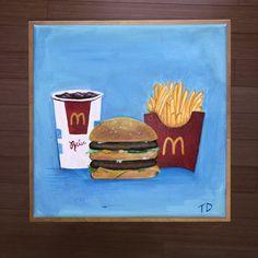 Burger Cartoon, Acrilic Paintings, Burger And Fries, Paint Ideas, Aesthetic Girl, Coke, Besties, Tasty, Drawings