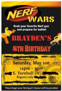 DIY NERF War Party Invitations