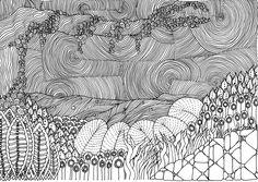 Zentangle By the river by *vlacruz on deviantART.  VanGogh would love the swirls!