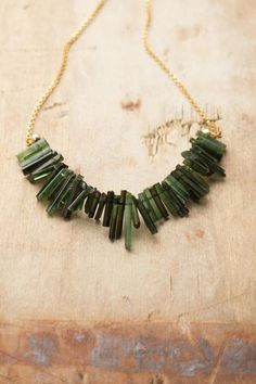 Green Tourmaline Necklace in Gold or Silver October