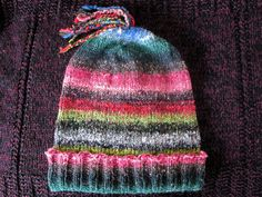Knit Slouchy Noro Hat  Black Red Green Pink by SpacerobotStudio